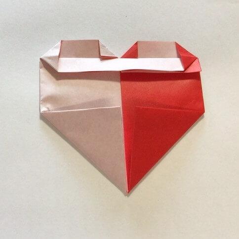2色ハート折り紙簡単折り方手順12