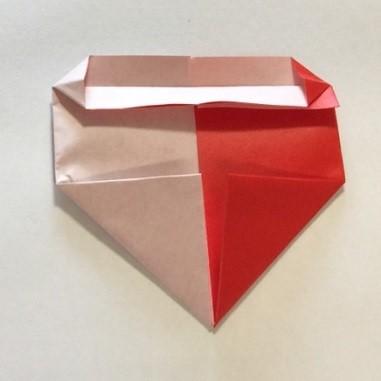 2色ハート折り紙簡単折り方手順10