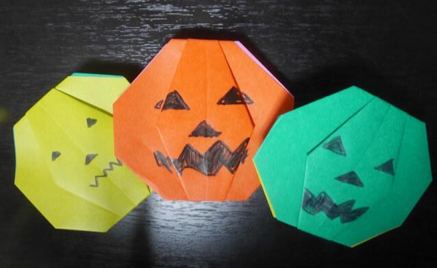 カボチャの折り紙(ジャック・オー・ランタン)の簡単な折り方!幼児でも出来るよ