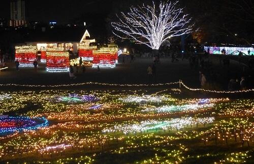 昭和記念公園,イルミネーション,の点灯時間,開催期間,駐車場,花火,自転車