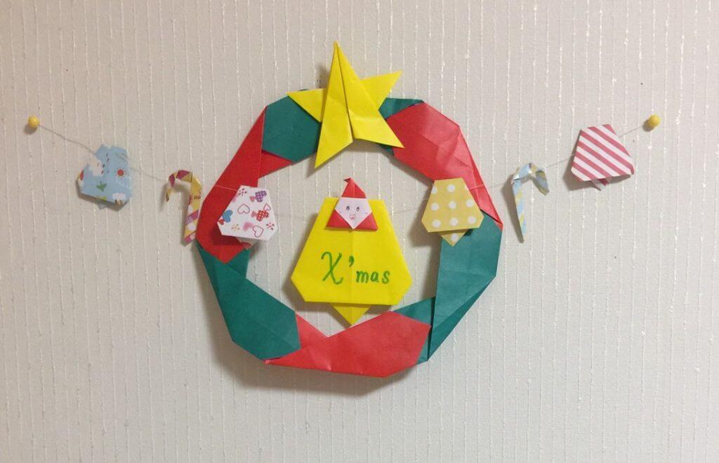 6枚で作る折り紙で簡単なクリスマスリース