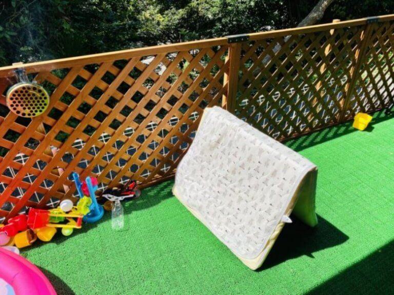 お庭で布団干し